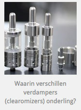 Verschillen tussen verdampers (clearomizers en tanks)